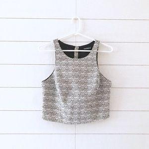 Express Black White Tweed Sleeveless Crop Top